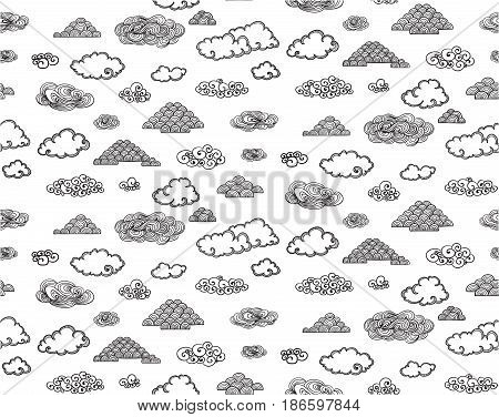 Monochrome doodle sky elements seamless pattern with beautiful clouds of different shapes and forms vector illustration