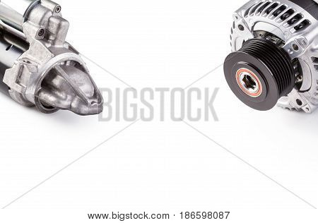 Alternator and starter for car isolated on white background.