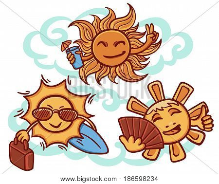 Colorful suns on rest concept with cocktail bag surfboard sunglasses fan in hand drawn style isolated vector illustration