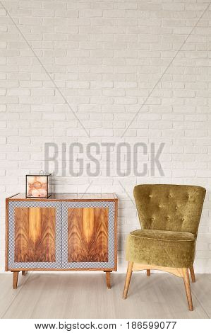 Wooden Commode And Vintage Green Armchair
