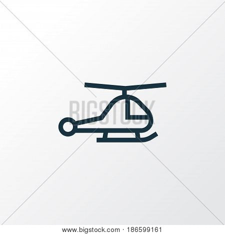 Chopper Outline Symbol. Premium Quality Isolated Helicopter Element In Trendy Style.