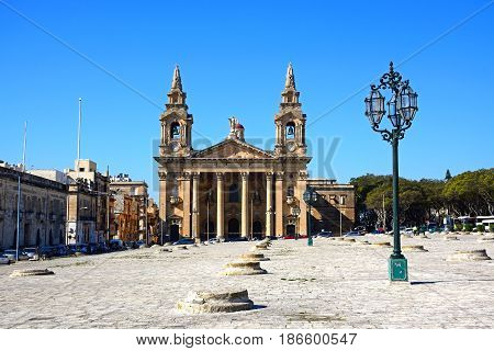 FLORIANA, MALTA - MARCH 30, 2017 - View of St Publius church Floriana Valletta Malta Europe, March 30, 2017.
