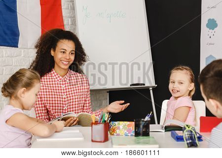 Teacher Explaining Vocabulary To The Kids