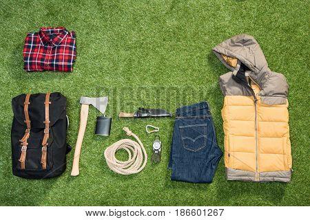 Traveler Set On Grassy Background, Flat Lay