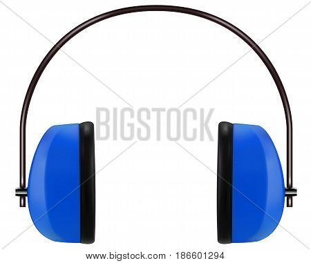 Realistic blue noise isolating headphones or earmuffs. Vector 3D illustration