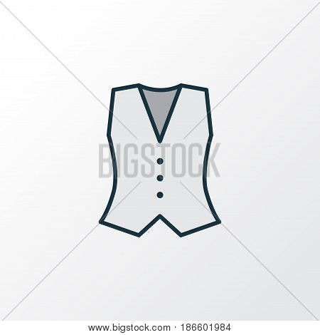 Waistcoat Colorful Outline Symbol. Premium Quality Isolated Vest Element In Trendy Style.