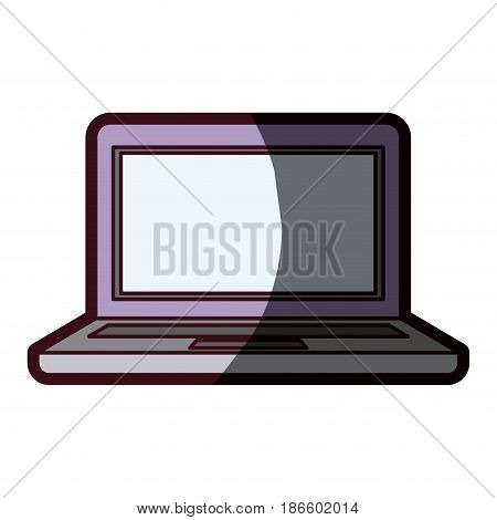 white background with laptop computer with bezel screen purple and thick contour vector illustration