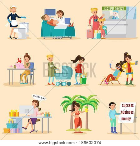 Colorful woman lifestyle characters set with different female occupations and girls in various situations isolated vector illustration