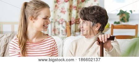 Young Woman And Grandma Smiling