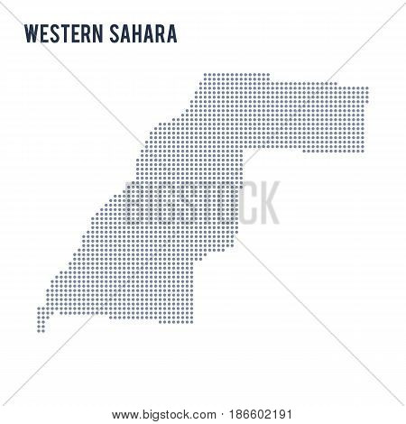 Vector dotted map of Western Sahara isolated on white background . Travel vector illustration