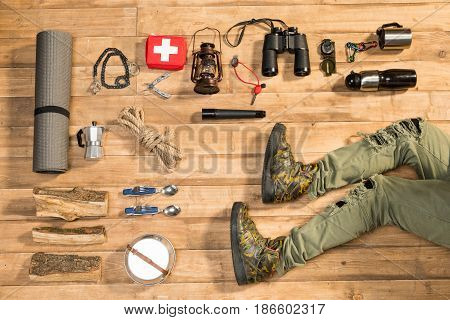 Hiker And Traveler Set On Wooden Floor, Flat Lay