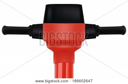 Construction red electric jackhammer tool. Realistic vector 3D illustration