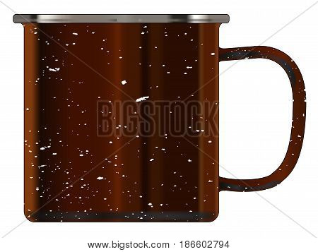 A typical dirty coloured tin cup with white mottle FX over a white background