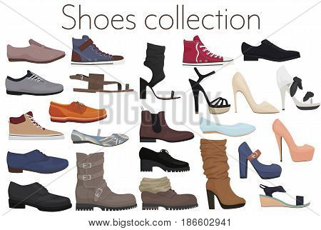 Vector trendy collection of men's and women's shoes fashion footwear