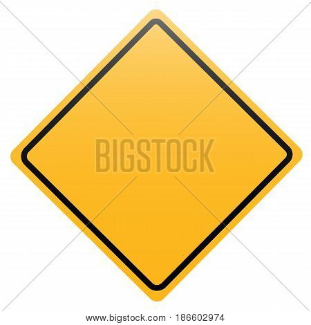 Yellow rhombus road sign isolated on white background