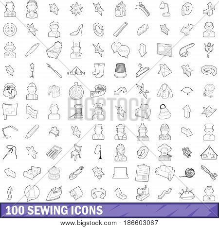 100 sewing icons set in outline style for any design vector illustration
