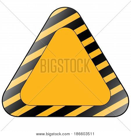 Yellow triangle road sign isolated on white background