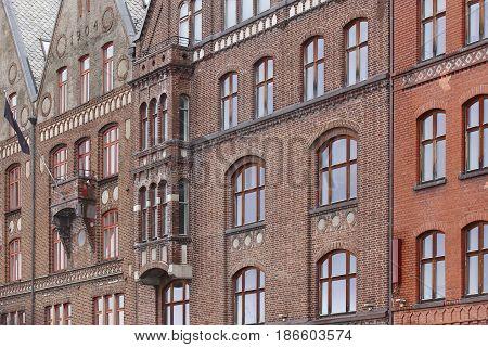 Traditional historic norwegian buildings facades in Bergen. Norway tourism