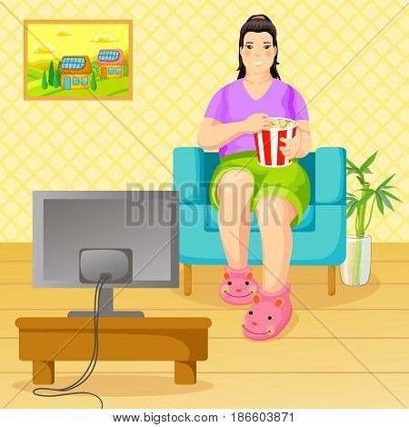 Cartoon unhealthy lifestyle and nutrition concept with fat abese woman sitting in armchair eating popcorn and watching tv vector illustration