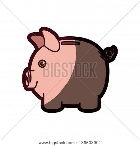 colorful silhouette of moneybox in shape of pig and thick contour vector illustration