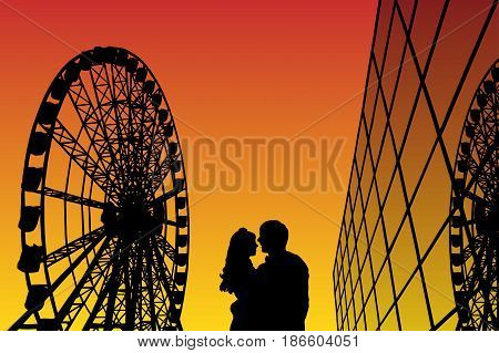 Lovers in amusement park at sunset. Vector illustration with silhouette of loving couple. Ferris wheel and glass building. Bright gradient background