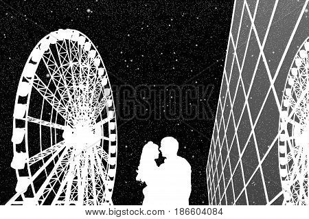 Lovers in amusement park at night. Vector illustration with silhouette of loving couple under starry sky. Ferris wheel and glass building