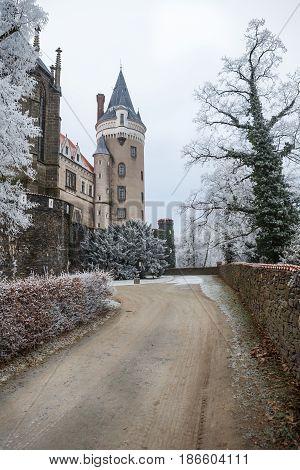 Chateau Zleby in winter Czech Republic, Europe.