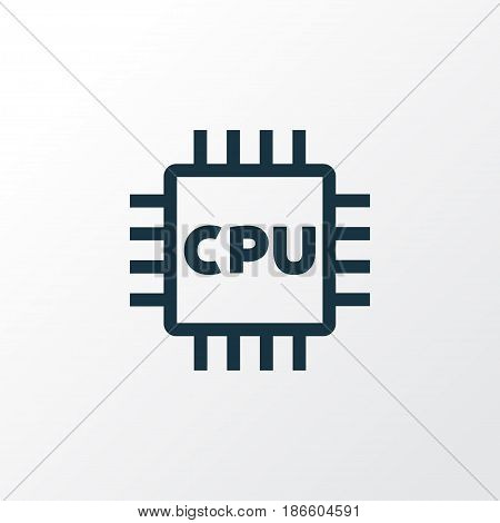 Microprocessor Outline Symbol. Premium Quality Isolated Cpu  Element In Trendy Style.