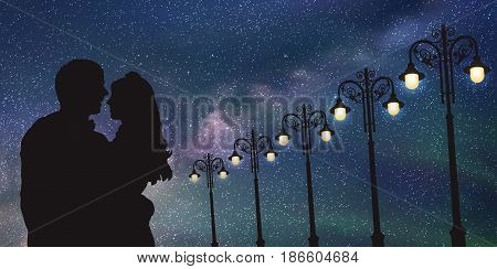 Lovers and vintage lampposts at night. Vector illustration with silhouette of loving couple under starry sky