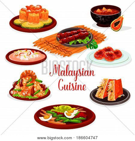 Malaysian cuisine restaurant menu with traditional asian food. Fried rice with shrimp and green bean, seafood risotto, grilled chicken, stuffed tofu, fish and vegetable salads, papaya soup, donut