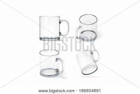 Blank transparent glass mug mock up set isolated 3d rendering. Clear translucent coffee cup mockup for sublimation printing. Empty gift crystal branding template. Glassy restaurant tankard design