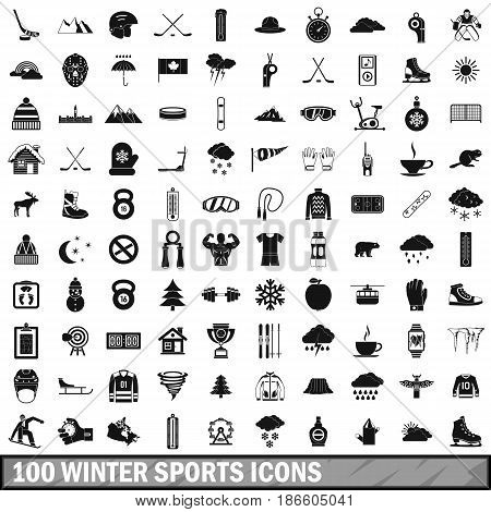 100 winter sport icons set in simple style for any design vector illustration