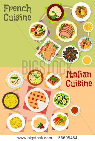 Italian and french cuisine dishes icon set of pasta with sausage, cream cheese sauce, tomato egg pie, seafood cocktail, vegetable and fruit salad with fish, duck, pate in bacon, dumpling, cake, cookie