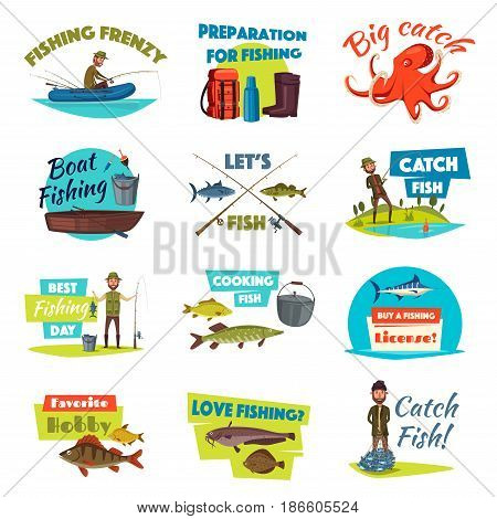 Fishing isolated cartoon icon set. Boat and bank fishing symbol of fisherman with spinning rod and net with fresh caught marlin, pike, salmon and perch fish, fishing tackle and equipment
