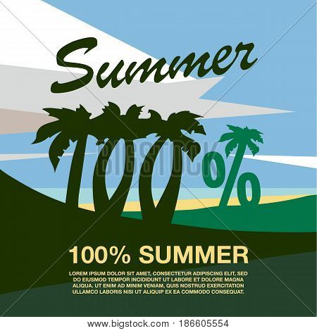One hundred percent banner text. Summer beach with palm trees. Summer flat geometric landscape.