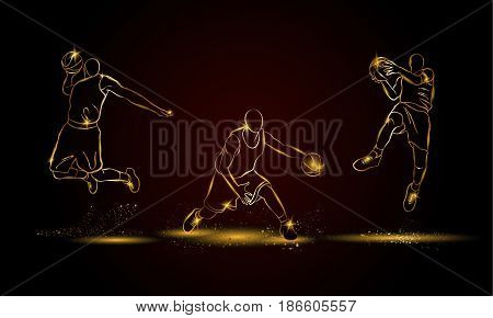 Basketball players set. Golden linear basketball player illustration for sport banner, background and flyer.