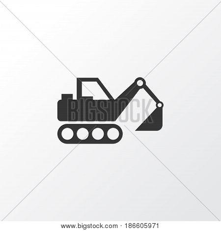 Excavator Icon Symbol. Premium Quality Isolated Digger Element In Trendy Style.