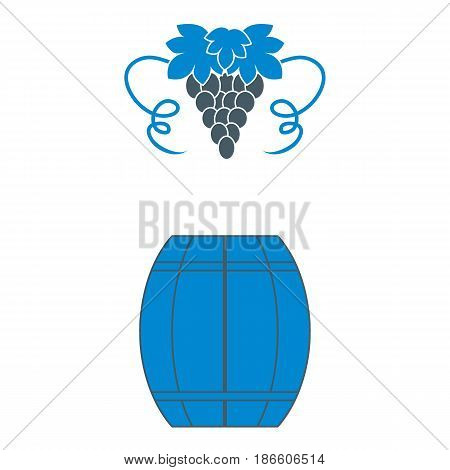 Stylized Icon Of A Colored Barrel Of Wine And A Bunch Of Grapes
