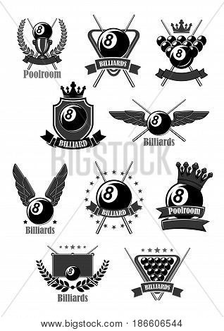 Billiards club or poolroom sport vector icons. Badges for pool play championship awards or contest tournament with symbols of cues and balls, champion winner laurel wreath with victory crown and stars