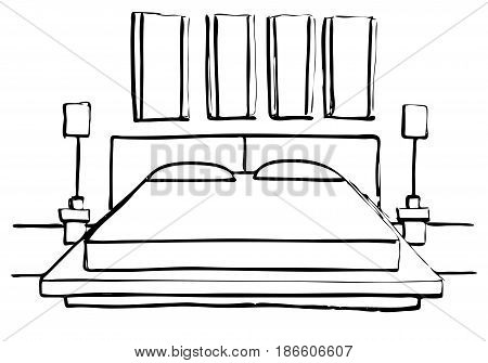 Hand drawn sketch. Linear sketch of an interior. Sketch Line bedrooms. Vector illustration. Room plan.