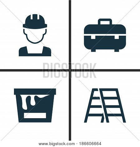 Industry Icons Set. Collection Of Stair, Equipment, Engineer And Other Elements. Also Includes Symbols Such As Case, Worker, Stair.