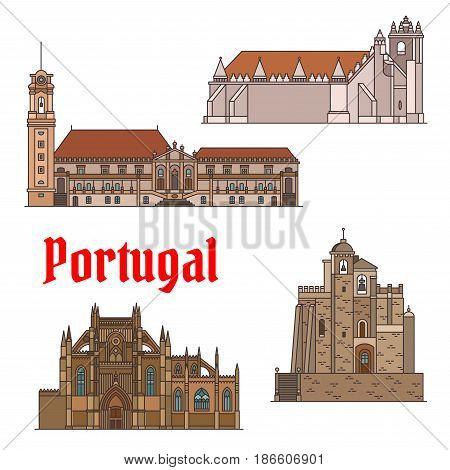 Portuguese travel landmarks of religious architecture thin line icon set. Roman Catholic Convent of Christ, Cathedral of Aveiro, Church in Mertola, Monastery of Santa Maria de Victoria. Travel design