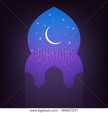 Arabic door with view on the mosque, night sky, shiny moon and stars. Arabic illustration
