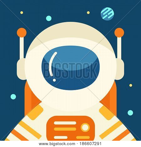 Astronaut in outer space, flat style, vector illustration