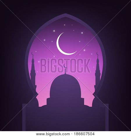 Mosque, night sky, shiny moon and stars. Arabic landscape view. Illustration for islamic holidays.