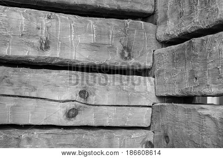 A corner with notched old wooden beams