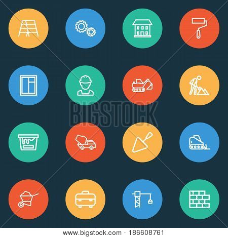 Building Outline Icons Set. Collection Of Construction Works, Builder, Tower Crane And Other Elements. Also Includes Symbols Such As Builder, Roller, House.