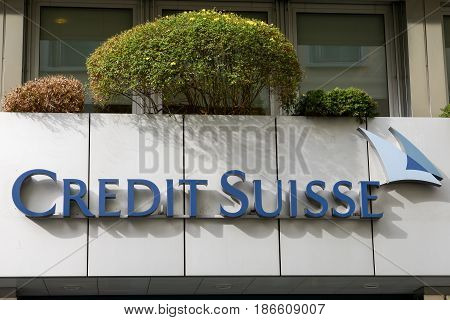 Credit Suisse Sign Over The Entrance Of The Office
