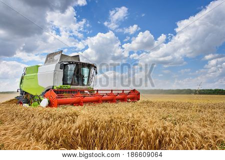 Dobrich, Bulgaria - JULY 08, 2016: Claas Lexion 660 combine harvester on display at the annual Nairn Farmers Show on July 08, 2016 in Dobrich, Bulagria.