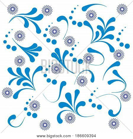Cute Pattern With Various Naive Plants And Contours Of Flowers